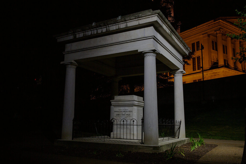 This night time photo of the tomb of president Polk, stationary for once. Find out why on our Nashville ghost tour.