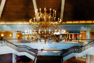 the lobby was designed to look like a southern style mansion