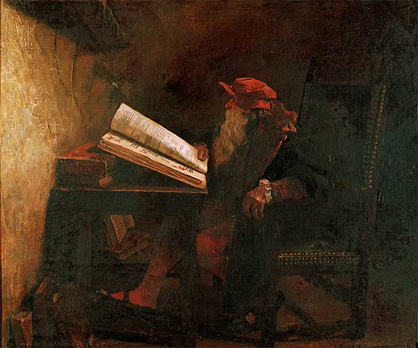 illustration of Dr Faust reading a text