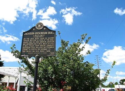 photo shows a plaque representing the spot of the jackson and dickinson duel