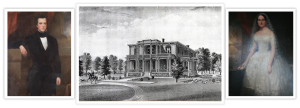 photo shows the McGavock couple and an old illustration of Two Rivers Mansion in the middle